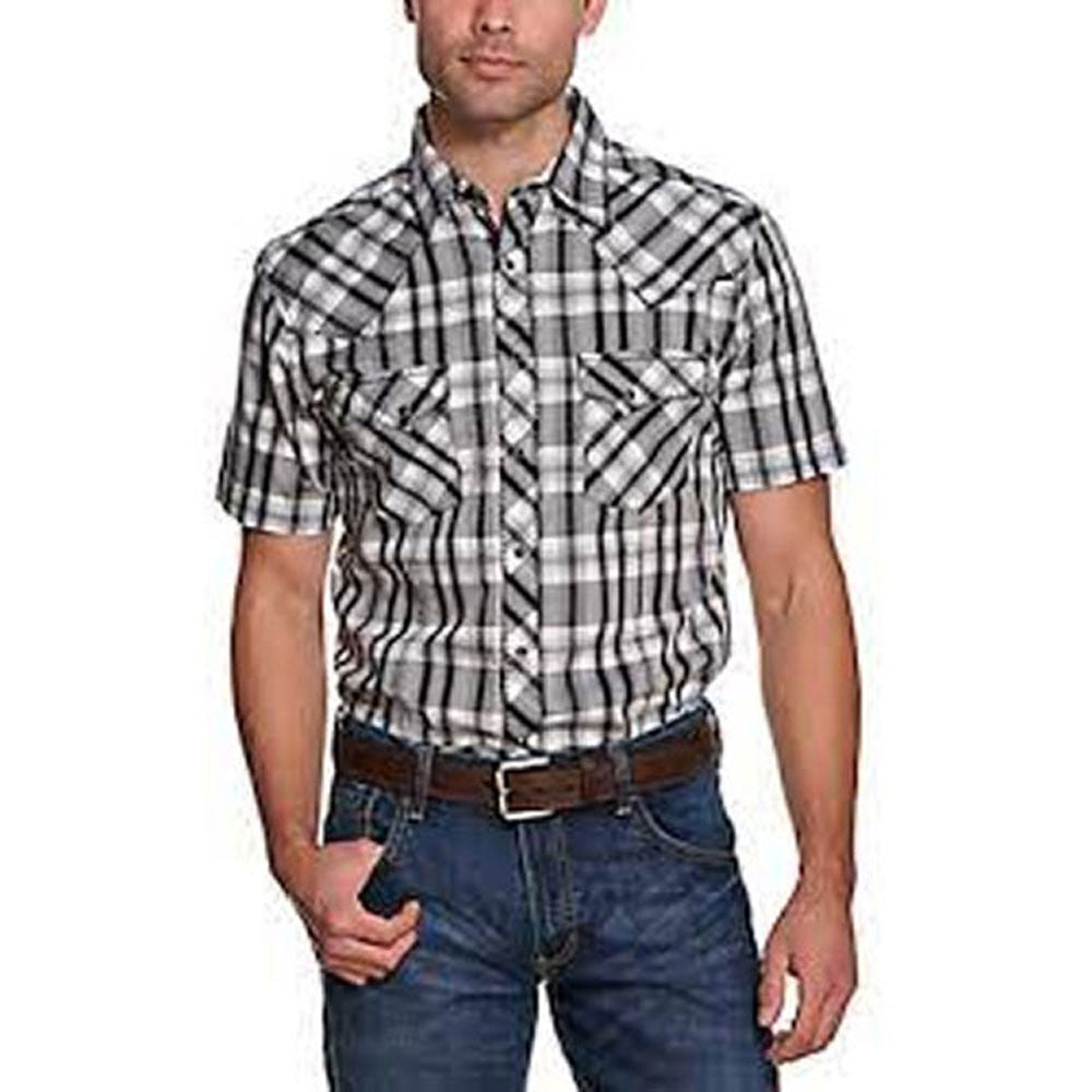 MVG325K Wrangler Mens Black, White & Grey Plaid Short Sleeve Western Snap Shirt