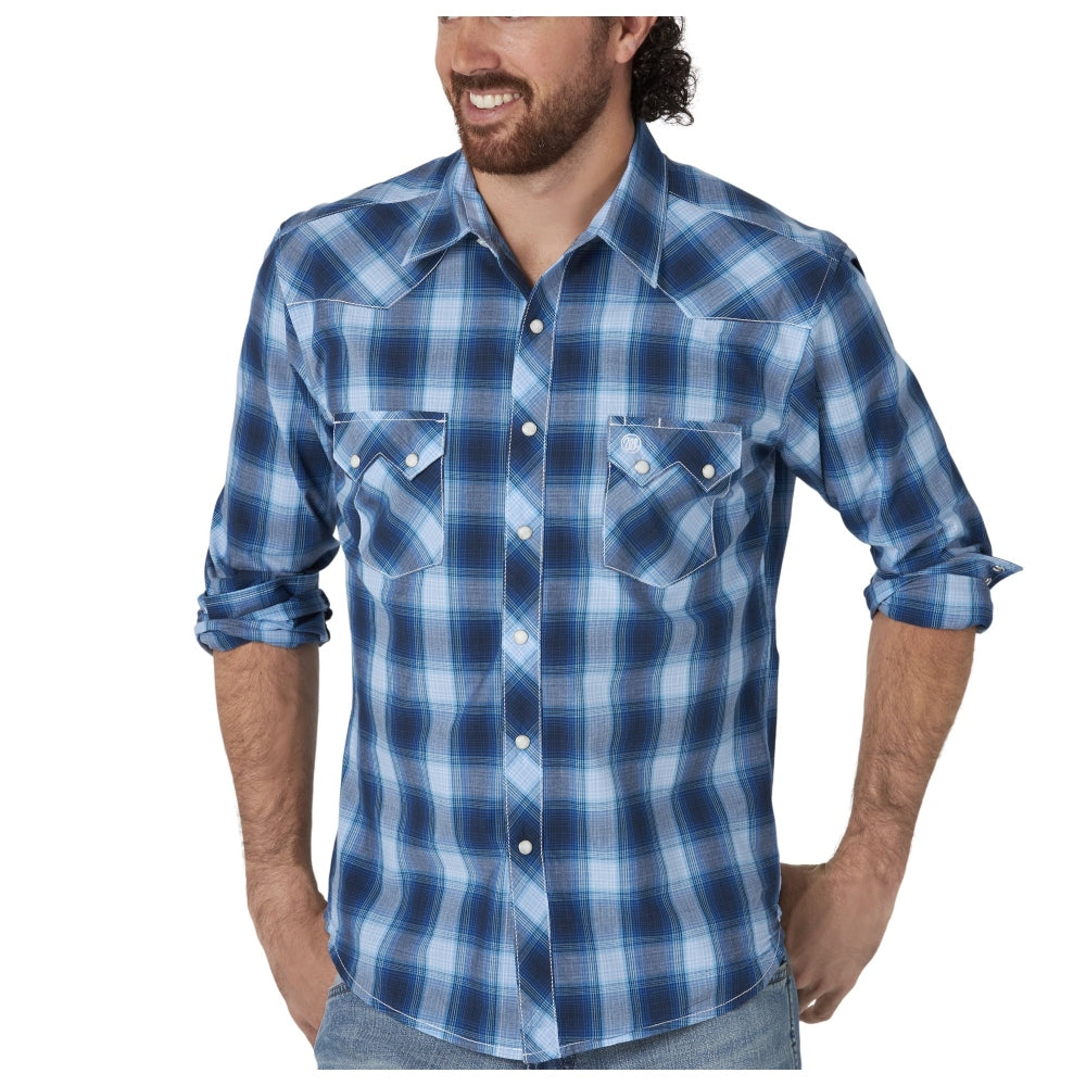MVR519B Wrangler Retro Men's Blue Plaid Long Sleeve Western Shirt