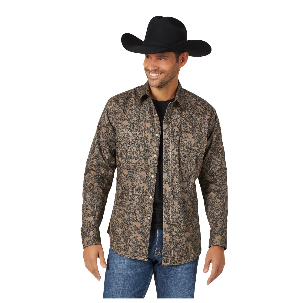 MVR527T Wrangler Retro Men's Tan with Black Paisley Print Long Sleeve Western Shirt