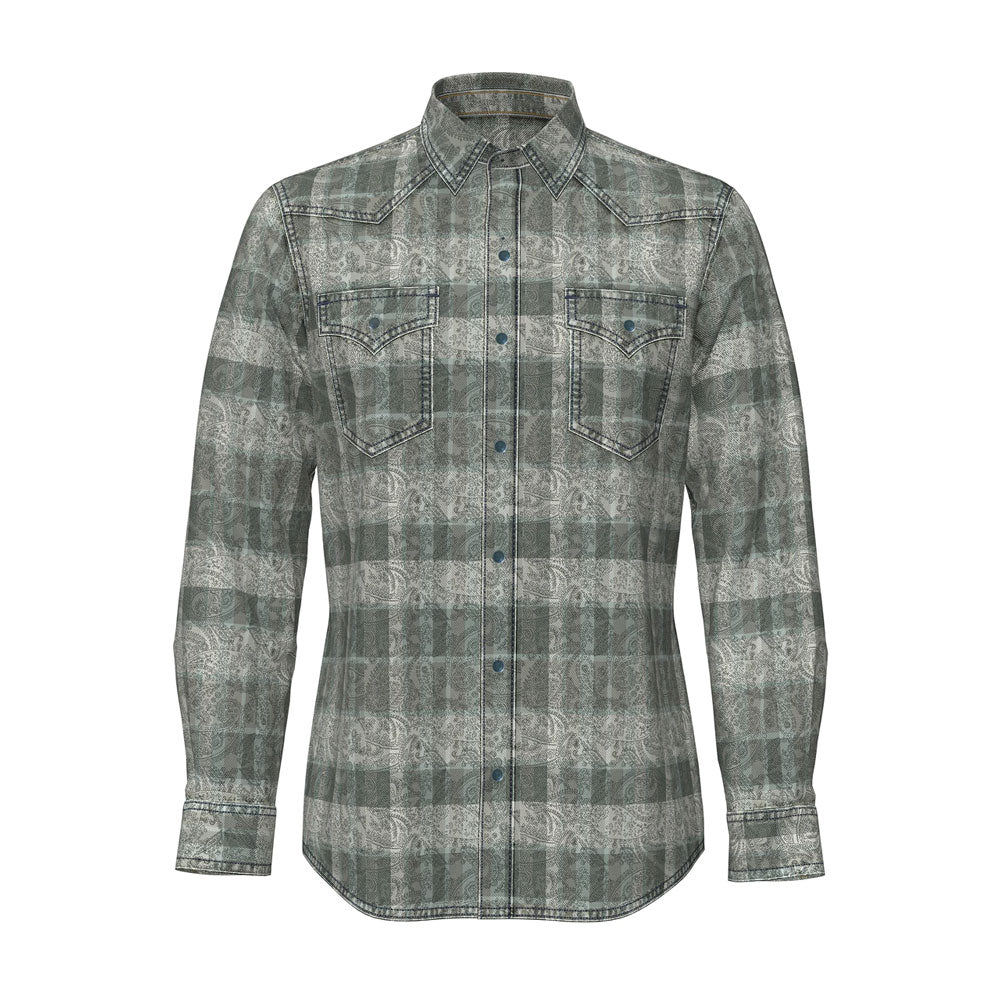 MVR545H Wrangler Mens Grey Paisley Plaid Western Snap Shirt