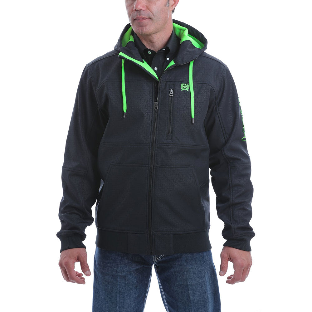 MWJ1524001 Cinch Men's Black Bonded Hoodie with Lime Accent
