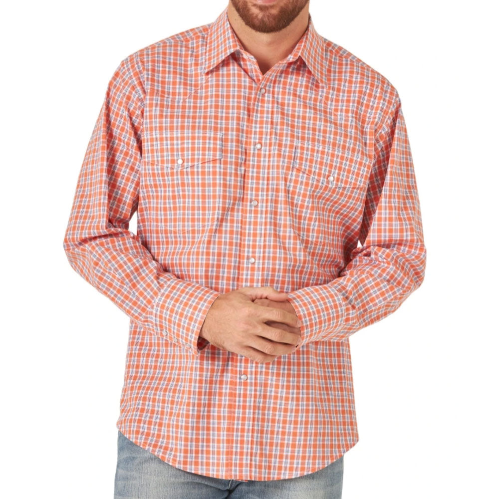 MWR399O Wrangler Men's Orange Plaid Wrinkle Resistant Stretch Long Sleeve Western Snap Shirt
