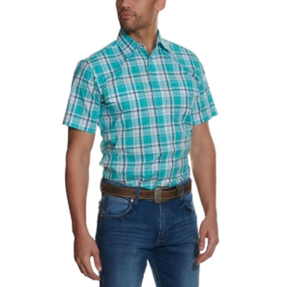 MWR405Q Wrangler Men's Aqua & White Plaid Wrinkle Resistant Short Sleeve Western Snap Shirt