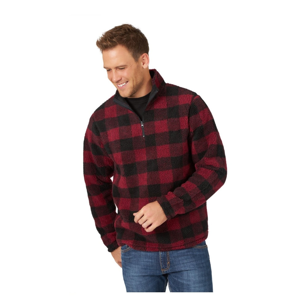 MZ3101R Wrangler Men's Sherpa Plaid 1/4 Zip Pullover Sweatshirt