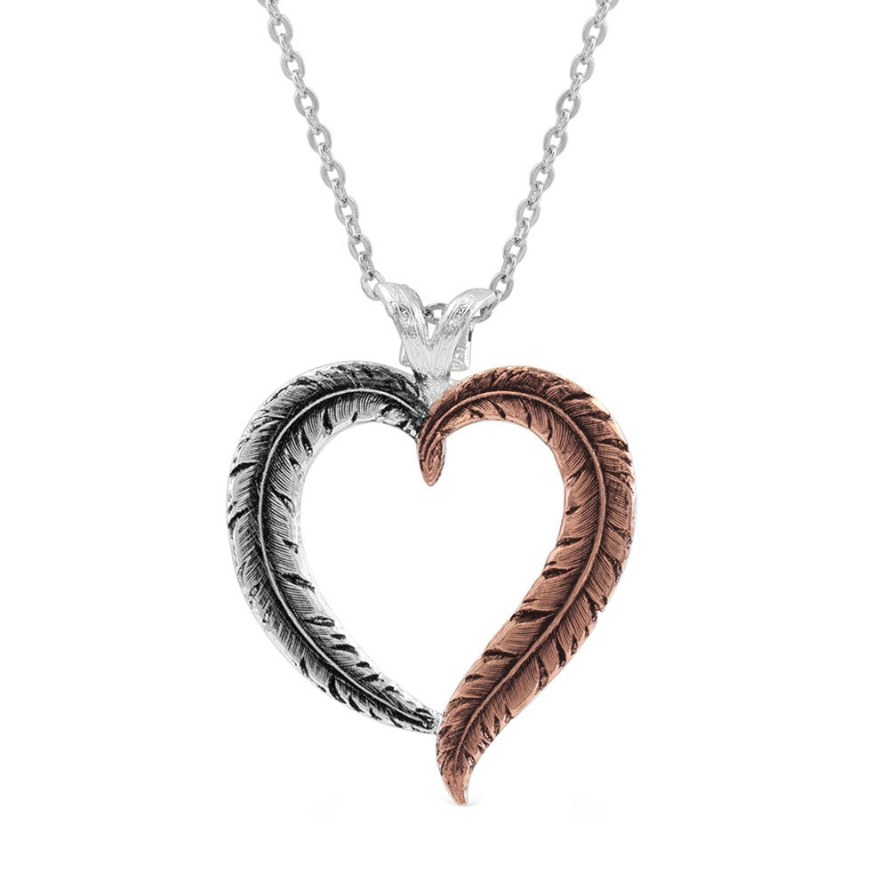 NC4591RG Montana Silversmiths Hearts Aflutter Feather Necklace