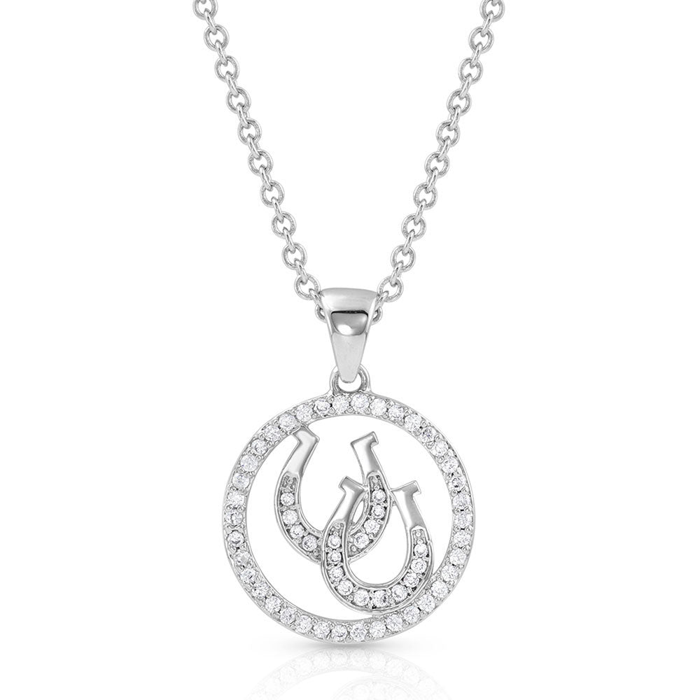 NC4731 Montana Silversmiths Lucky Horseshoe Pendant Necklace