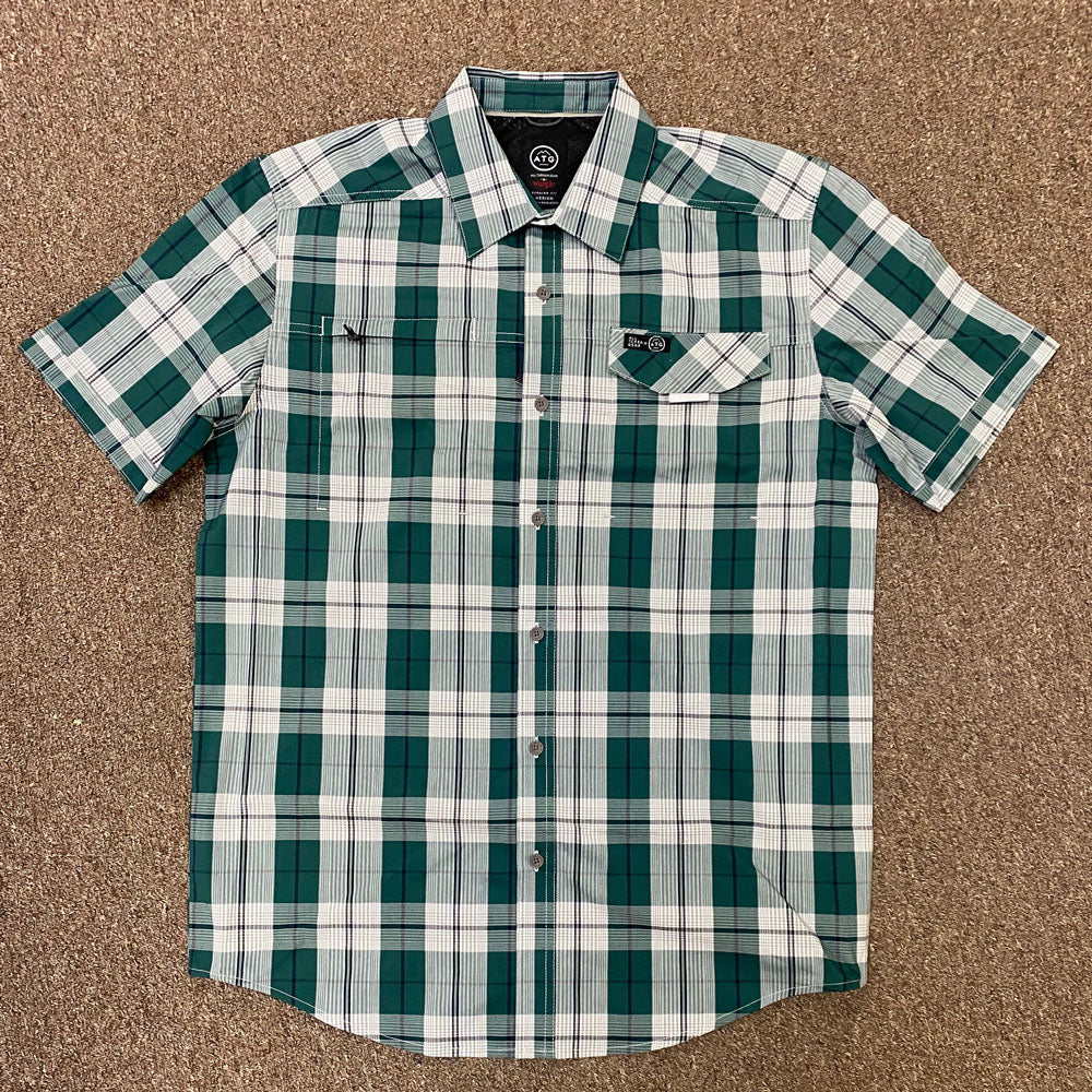 NSP65DG All Terrain Gear by Wrangler Men's Green Plaid Short Sleeve Shirt