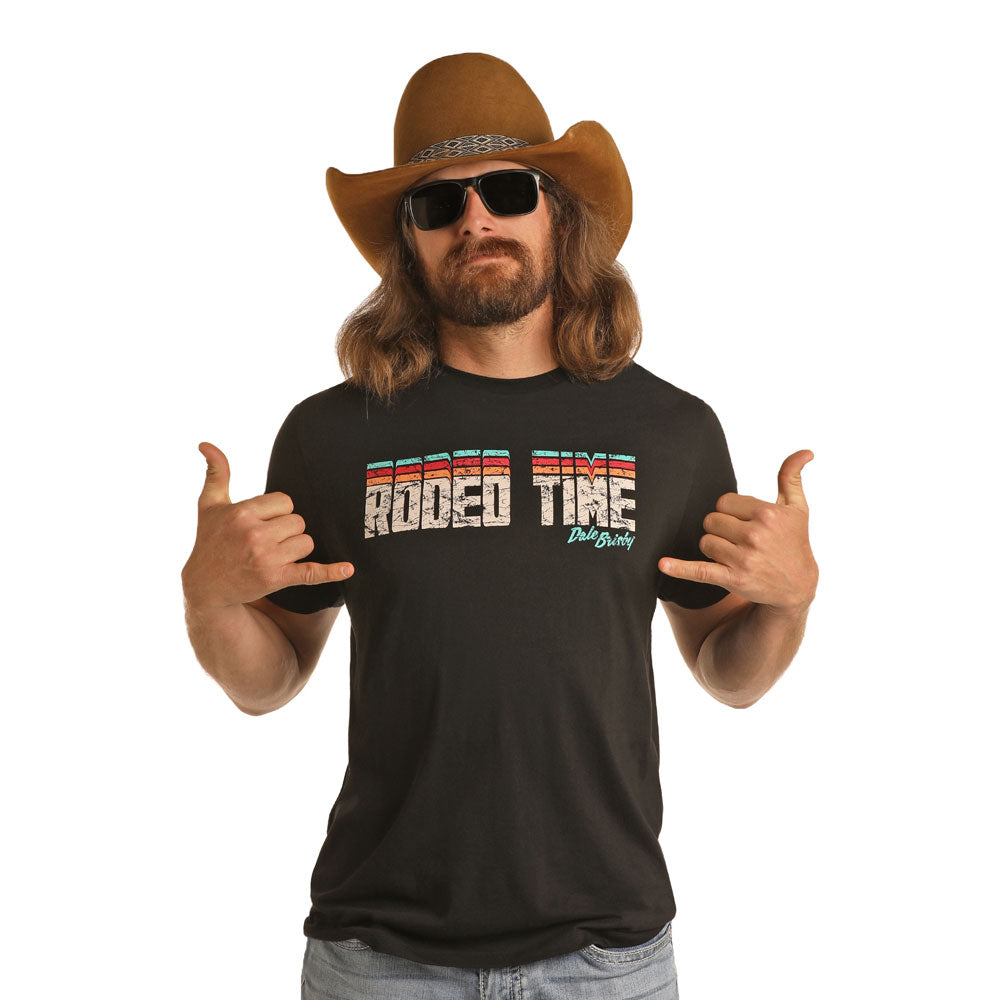 P9-6506 Rock & Roll Denim Dale Brisby Men's Rodeo Time Brown Short Sleeve Tee