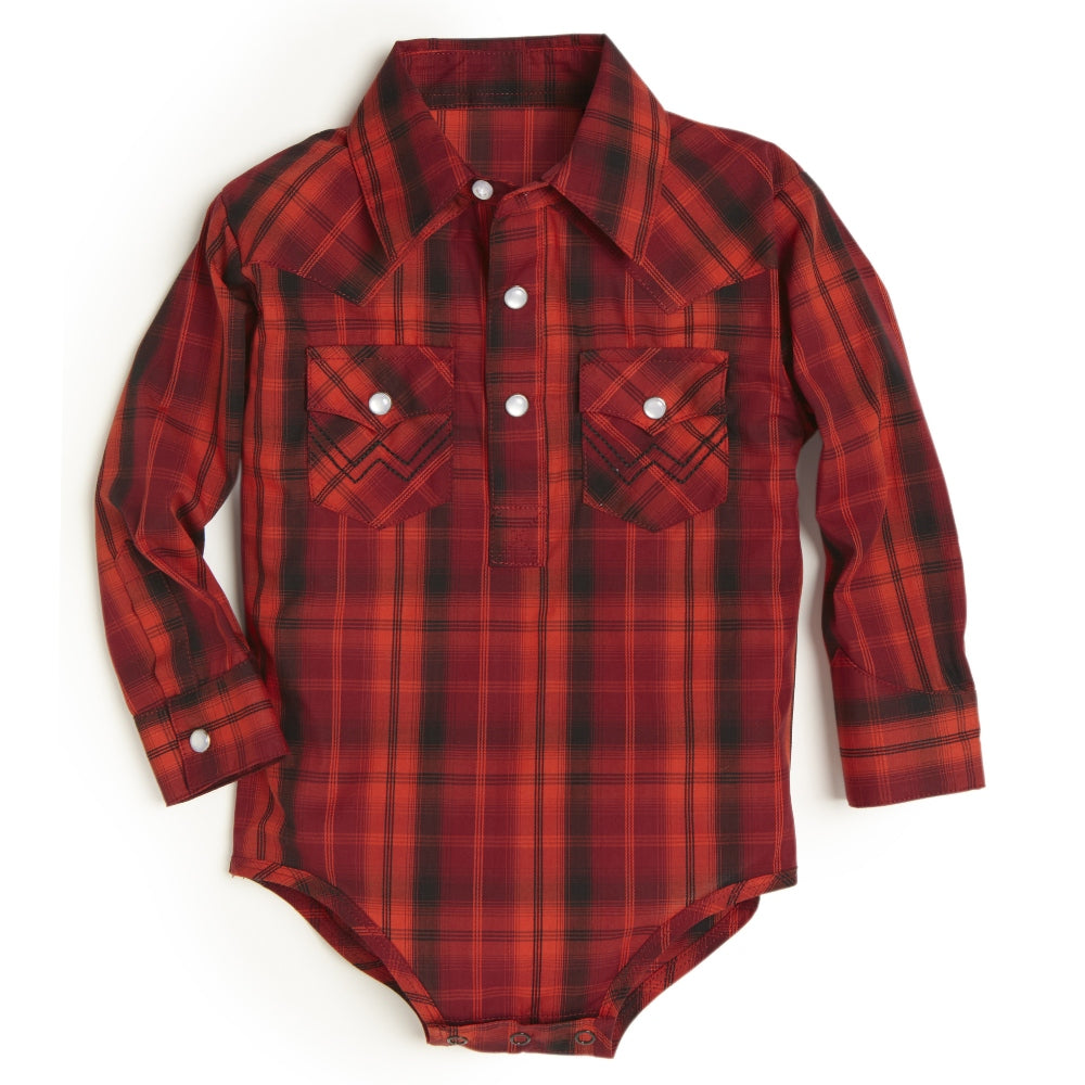 PQ2910M Wrangler Baby Red, Orange, and Black Plaid Bodysuit
