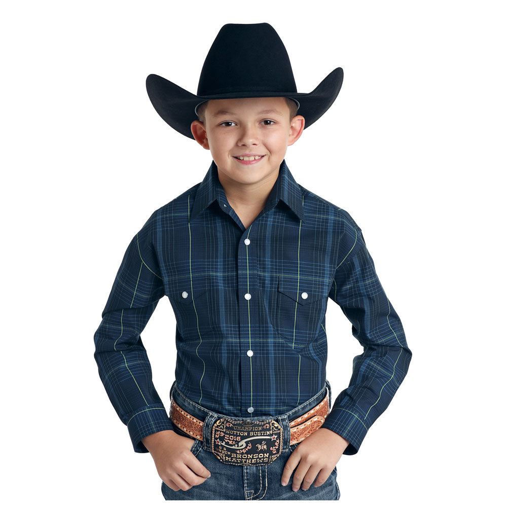 R2S6915 Panhandle Boys Blue Plaid Long Sleeve Western Snap Shirt