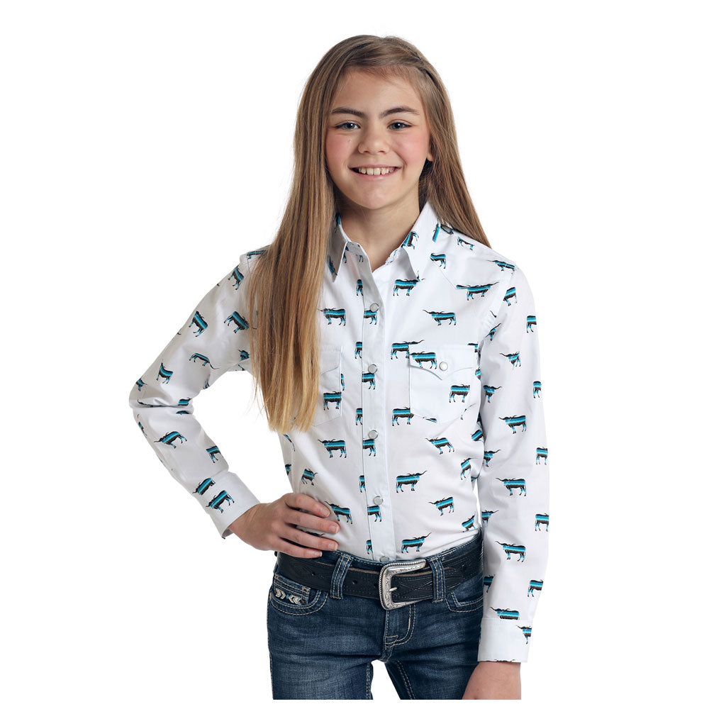 R6S6397 Panhandle Girls Rough Stock Long Sleeve Steer Print Western Shirt
