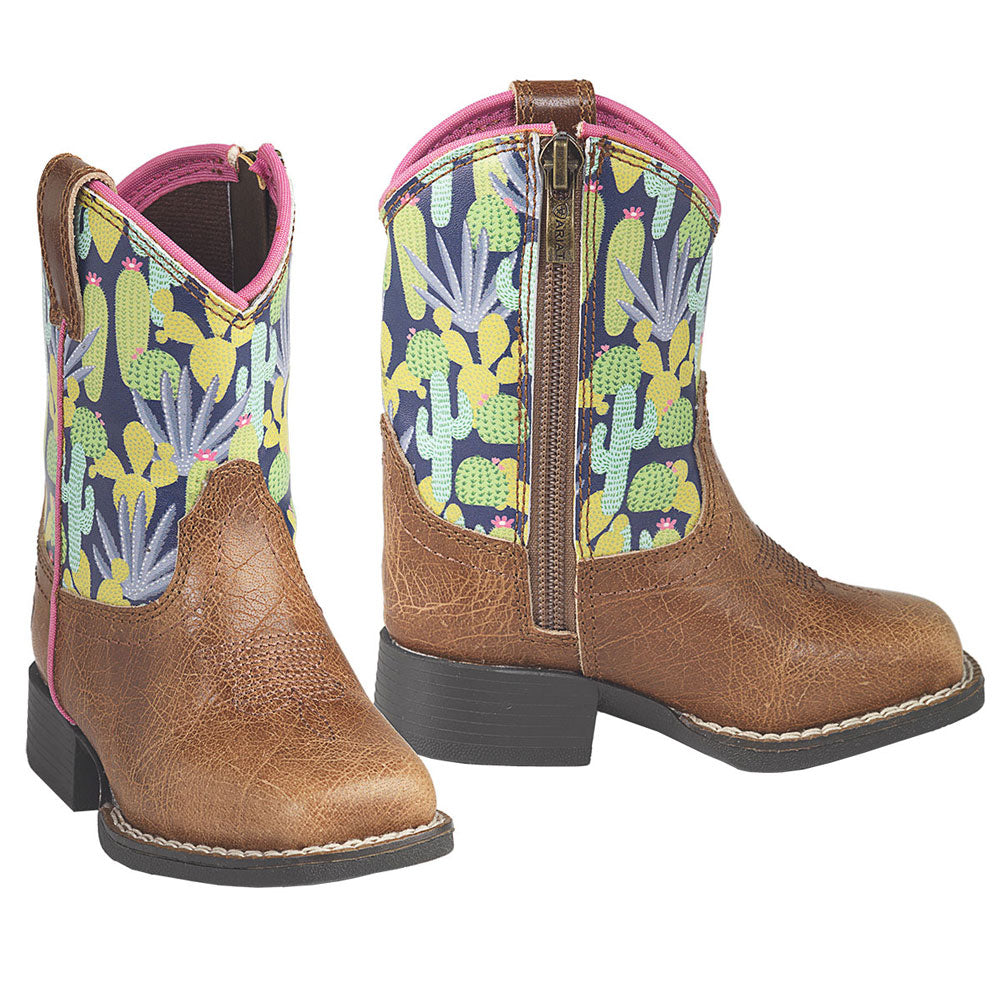 Ariat Roswell Toddler Lil Stompers Boots Tan & Cactus Print