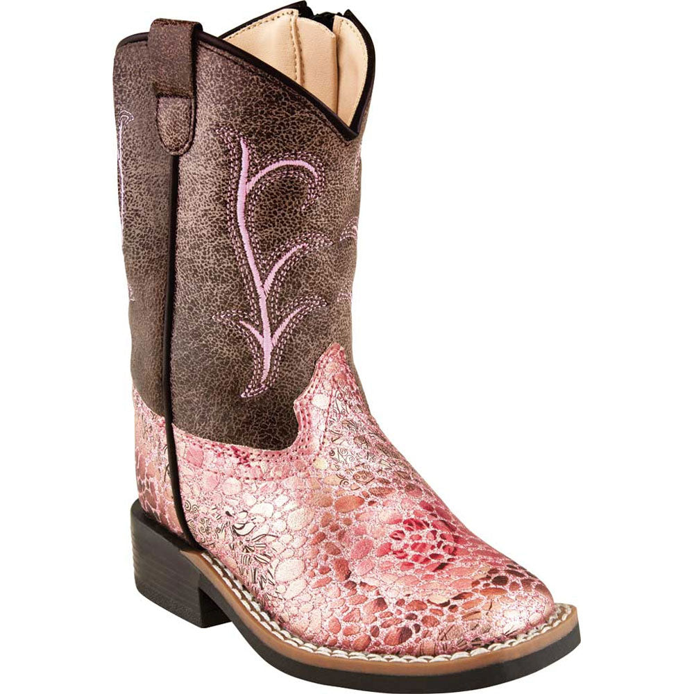 VB1054 Old West Toddler Girls Antique Pink/Crackle Faux Leather Cowboy Boots