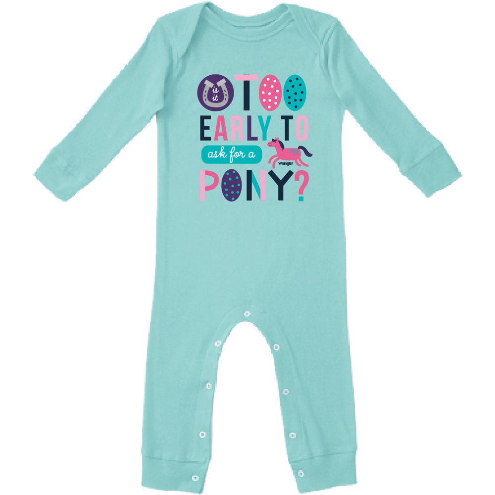 W44128408 Wrangler Baby Girls Coverall One-Piece Bodysuit - Aqua Newborn