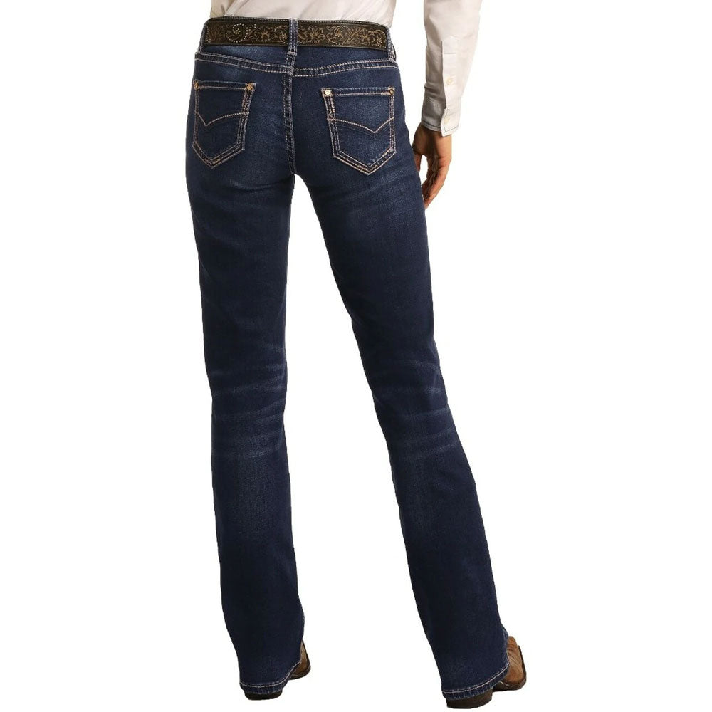 W7-4166 Rock & Roll Cowgirl Women's Boot Cut Mid Rise X-tra Stretch Riding Jean