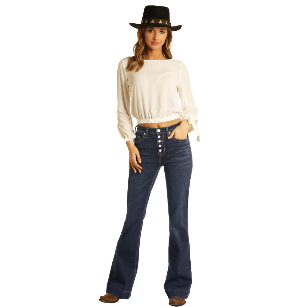 W8H6098 Rock And Roll Cowgirl Juniors High Rise Trouser Jean
