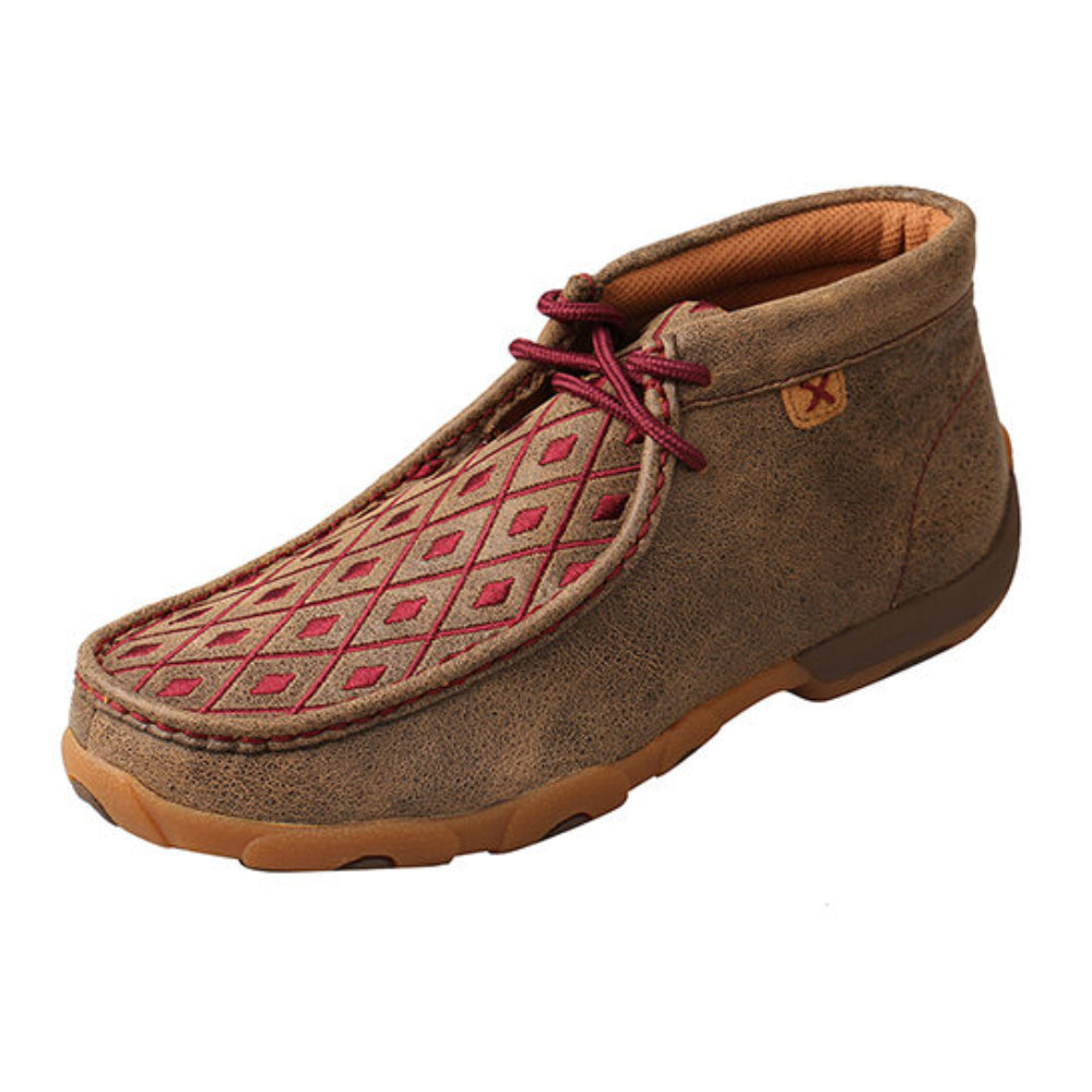 WDM0071 Twisted X Women's Chukka Driving Moc with Burgundy Detail
