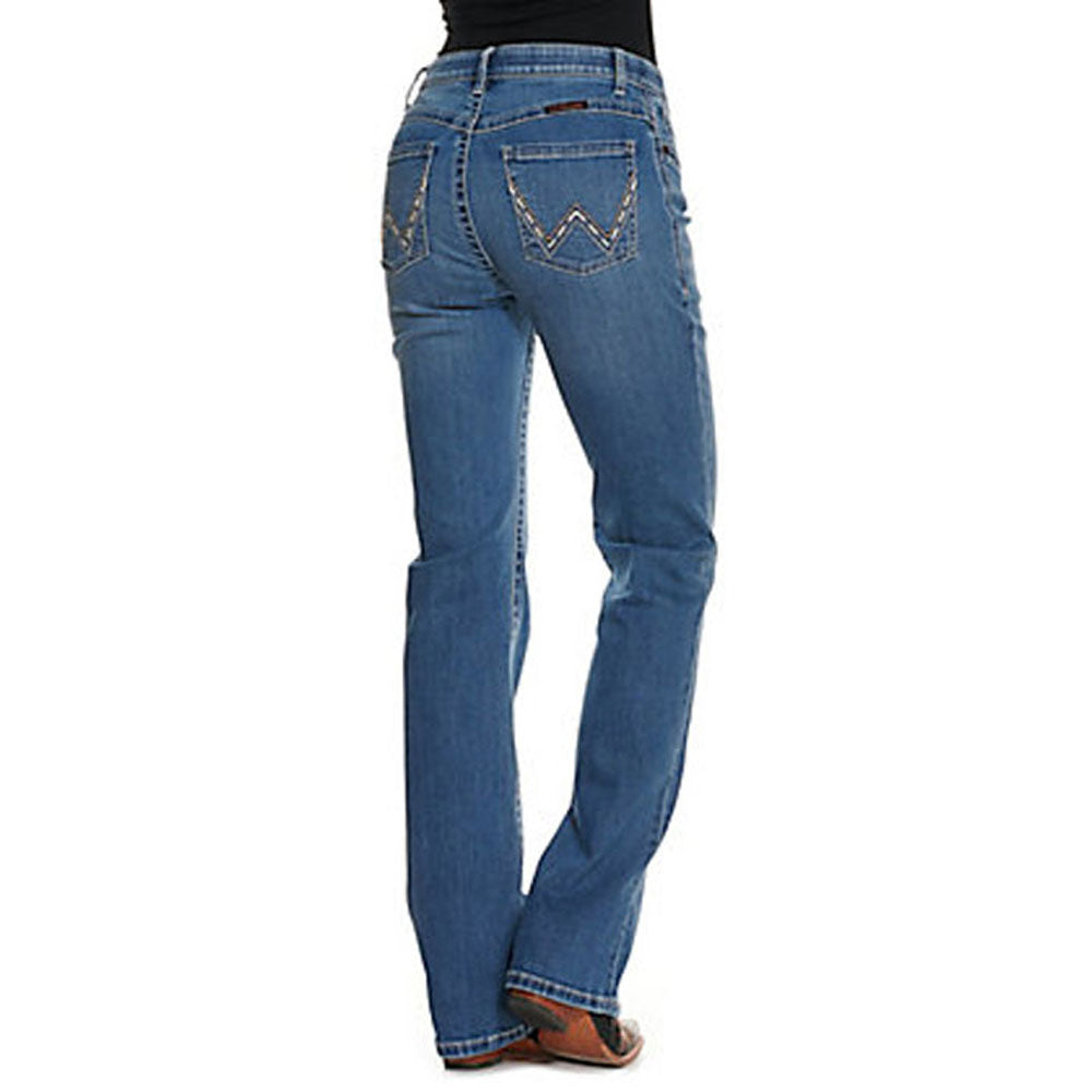 WRW60GR Wrangler Women's Willow Light Wash Mid Rise Boot Cut Ultimate Riding Jean
