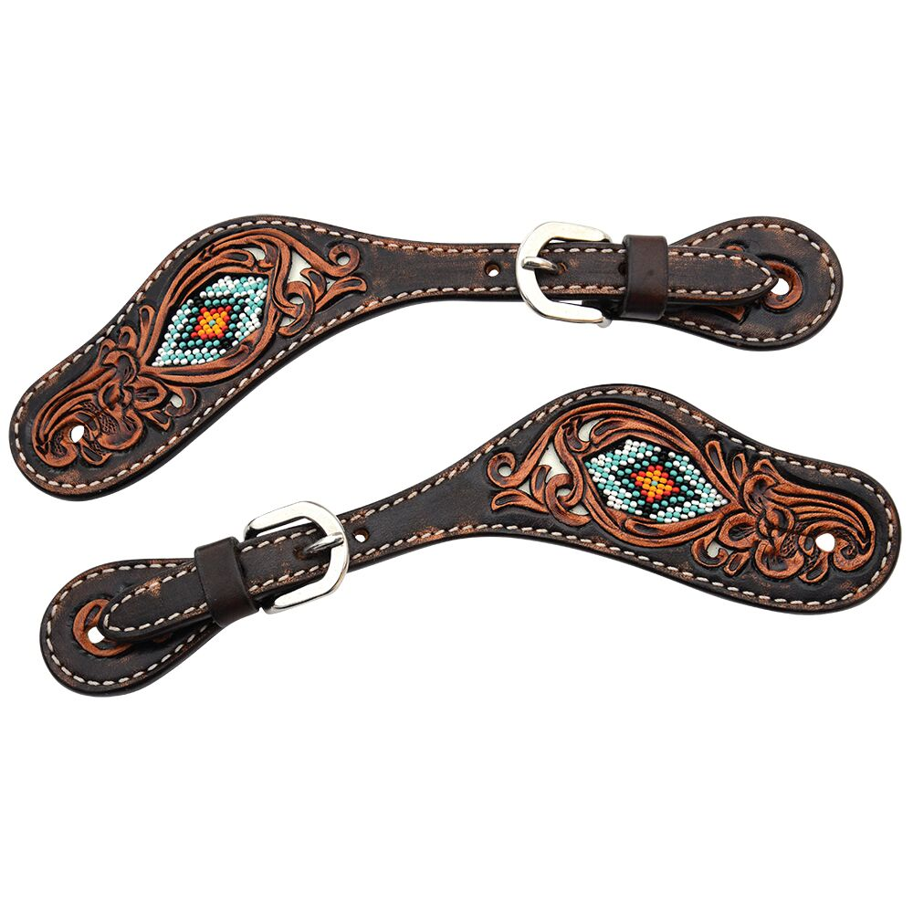X0716-500V Circle Y Distressed Beaded Spur Straps Ladies/Youth