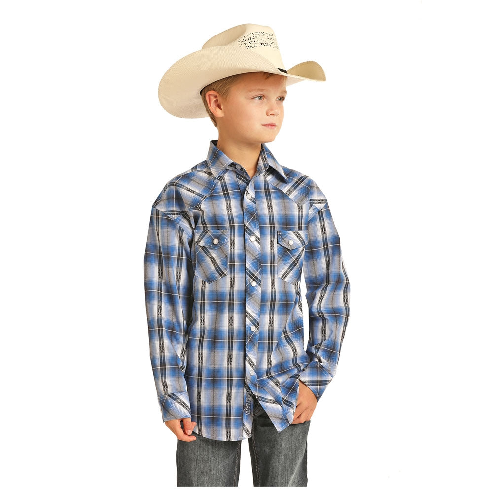 B8S4062 Rock & Roll Cowboy Boys Blue Dobby Plaid Long Sleeve Snap Shirt