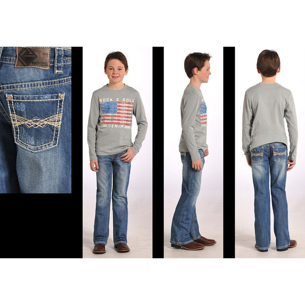 BB-4954 Rock & Roll Cowboy Boy's BB Gun Regular Fit Boot Cut Jeans - Khaki & Ivory Embroidered Back Pocket
