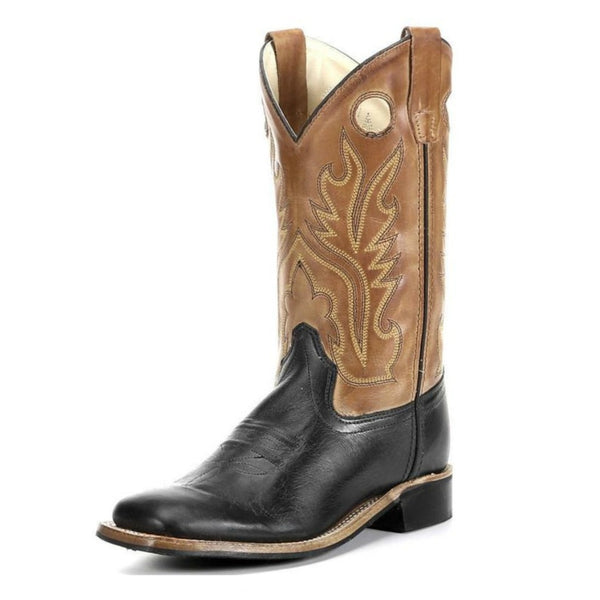 BSY1810 Old West Kids Square Toe Black and Tan Leather Western Cowboy Boot