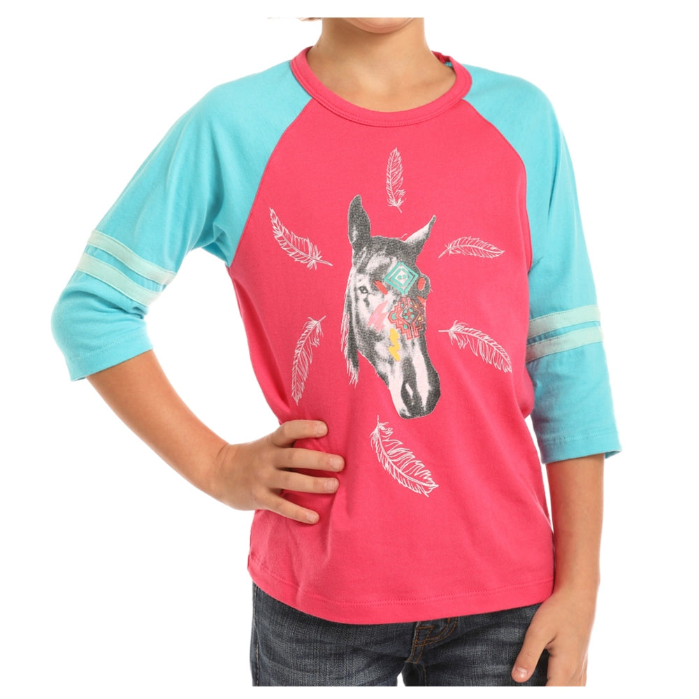 G4T7632 Rock & Roll Cowgirl Girls' Horse Graphic Baseball Tee