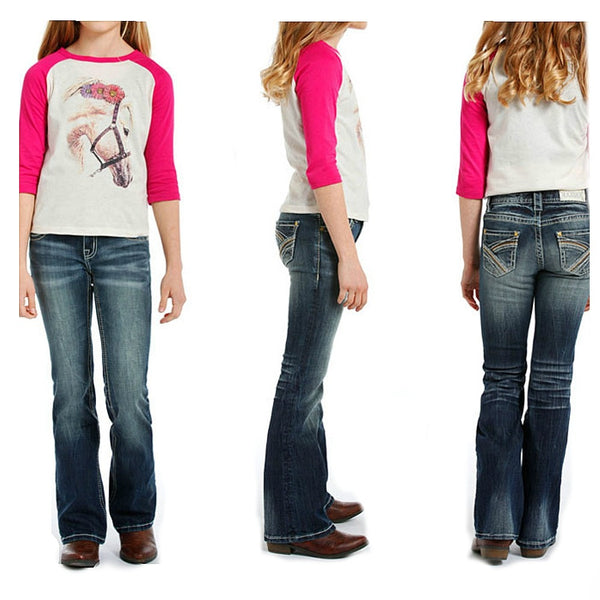 G5-3511 Rock & Roll Cowgirl Girls' Boot Cut Jeans Multi-colored Stitched Pockets