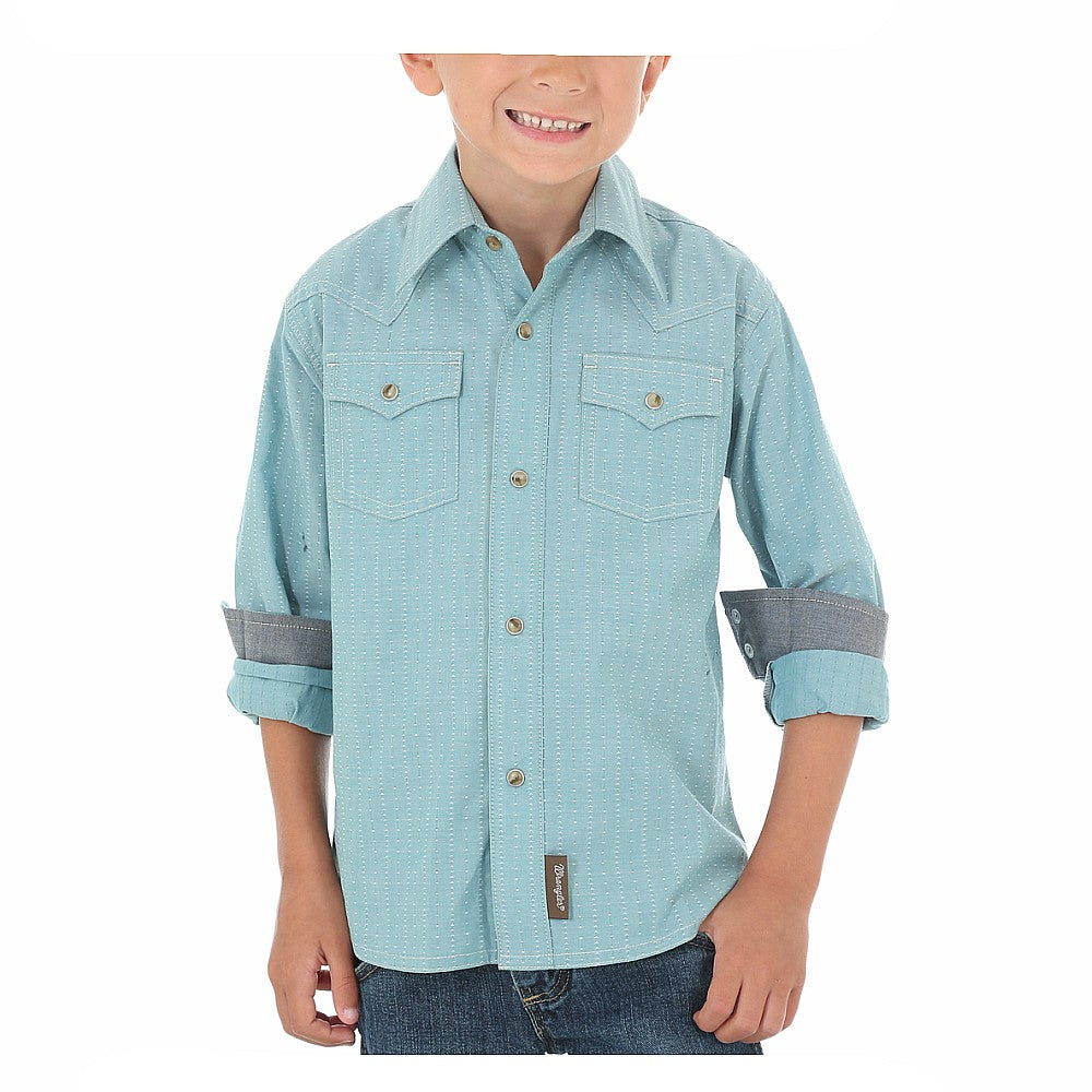 BVR368M Wrangler Boy's Retro Western Shirt With Needle Topstitch - Teal