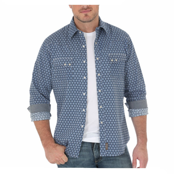 MVR371M Wrangler Retro Men's Blue Print Western Shirt