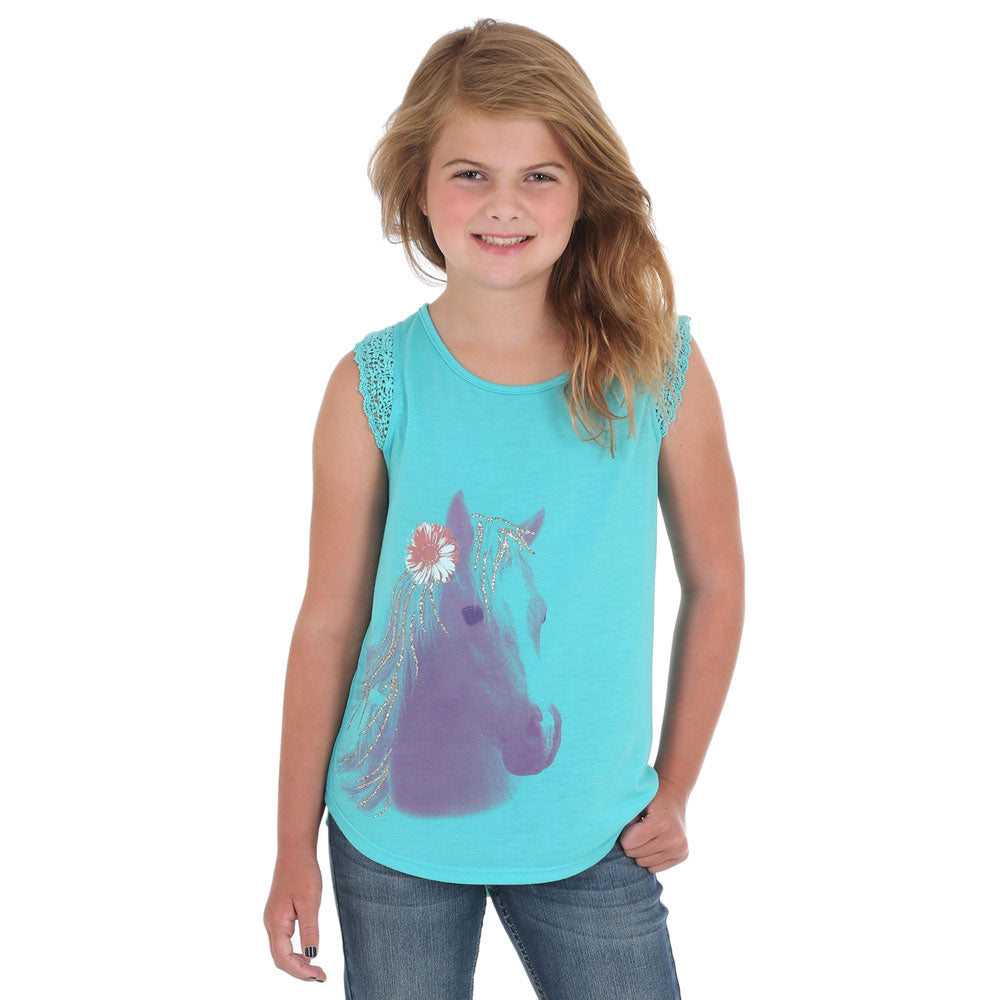 GWK252Q Wrangler Girl's Aqua Jade Tank Top with Horse Graphic