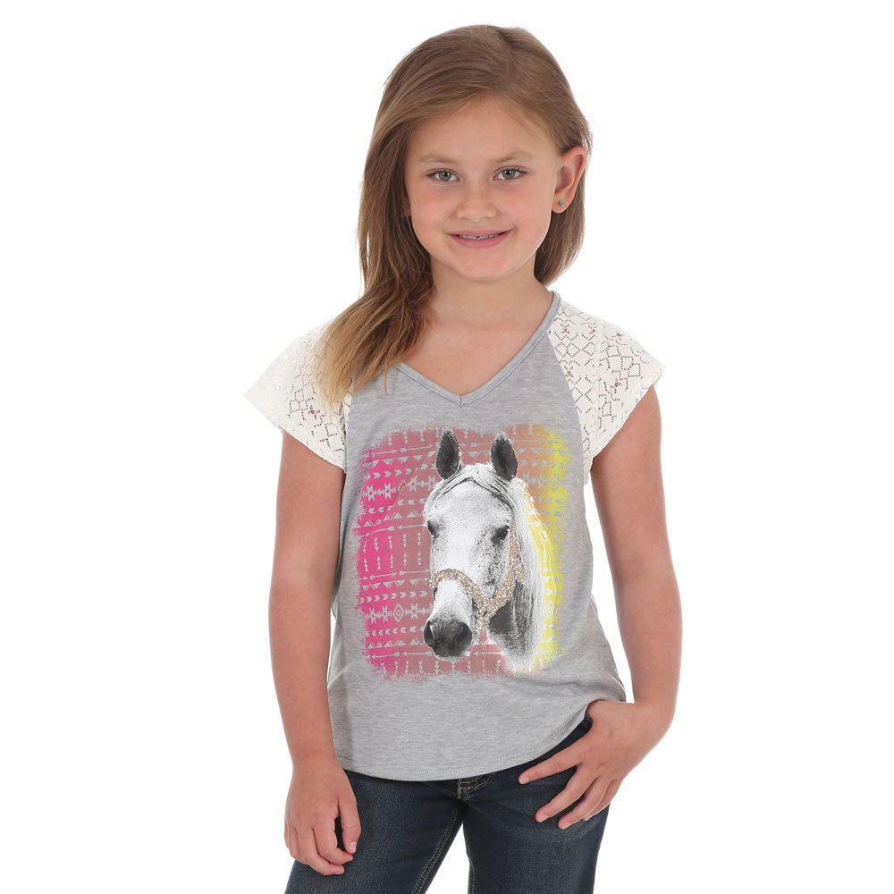 GWK254H Wrangler Girls Short Lace Sleeve Horse Graphic Top