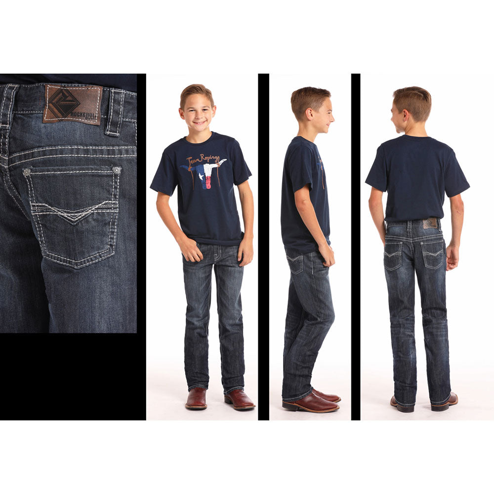 BBS6624 Rock & Roll Boys Reflex Revolver Jeans Dark Vintage Wash
