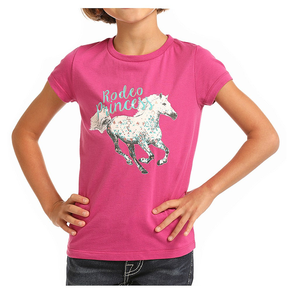 G3T6555 Rock & Roll Cowgirl Girl's Rodeo Princess Graphic T-Shirt - Pink