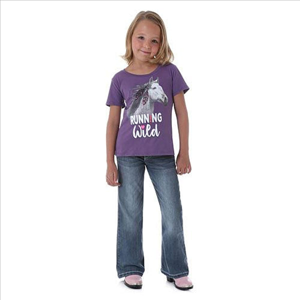 GWK418P Wrangler Girls' Short Sleeve RUNNING WILD Horse Graphic Tee - Purple