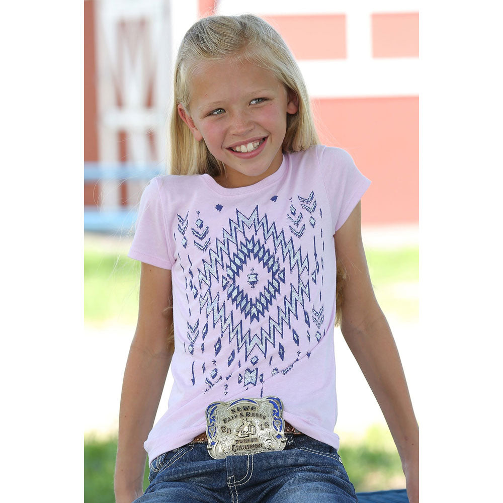 CTT6850020 Cruel Girl Kid's Pink Aztec Design Short Sleeve Tee