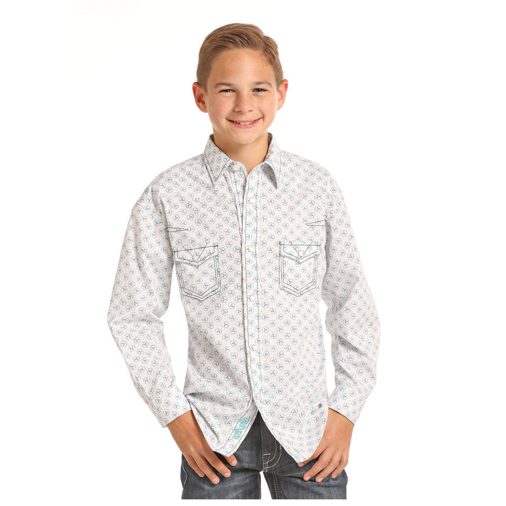 B8S6033 Rock & Roll Cowboy Boys Long Sleeve White & Aqua Print Western Snap Shirt