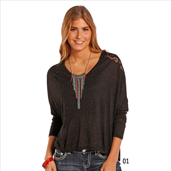 J8-8679 Panhandle Slim Juniors Dolman Sleeve Top Lace Inset Back