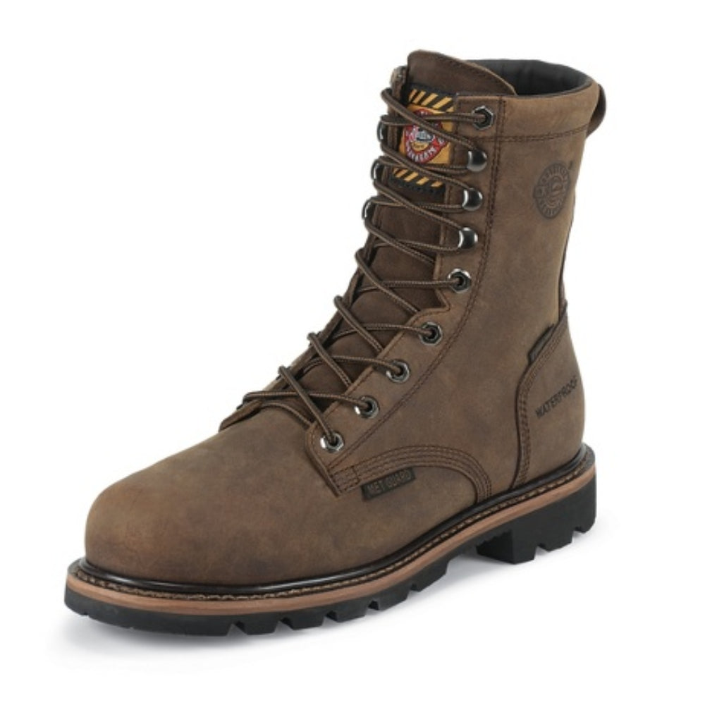 WK630 Justin Mens Pulley Waterproof Lace Up Work Boot With Met Guard And Composite Toe