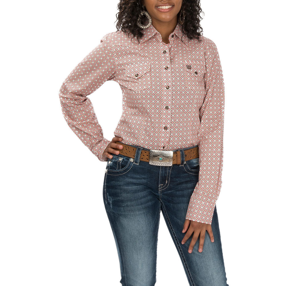 MSW9200027 Cinch Women's Pink & Brown Geometric Print L/S Western Snap Shirt