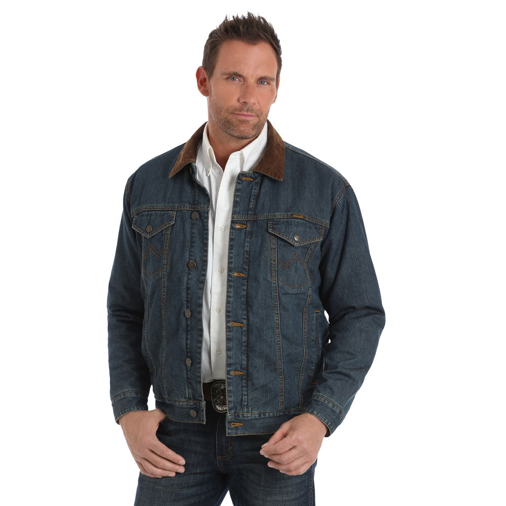 74265CD Wrangler Men's Conceal Carry Blanket Lined Denim Jean Jacket