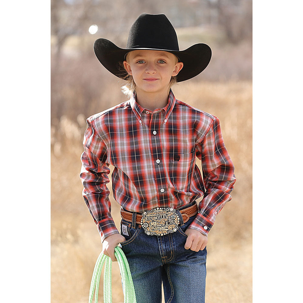 MTW7060168 Cinch Boys' Orange & Navy Plaid Button Western Shirt