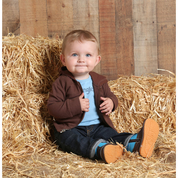 PQK771E Wrangler Baby Thermal Knit Hoodie - Brown