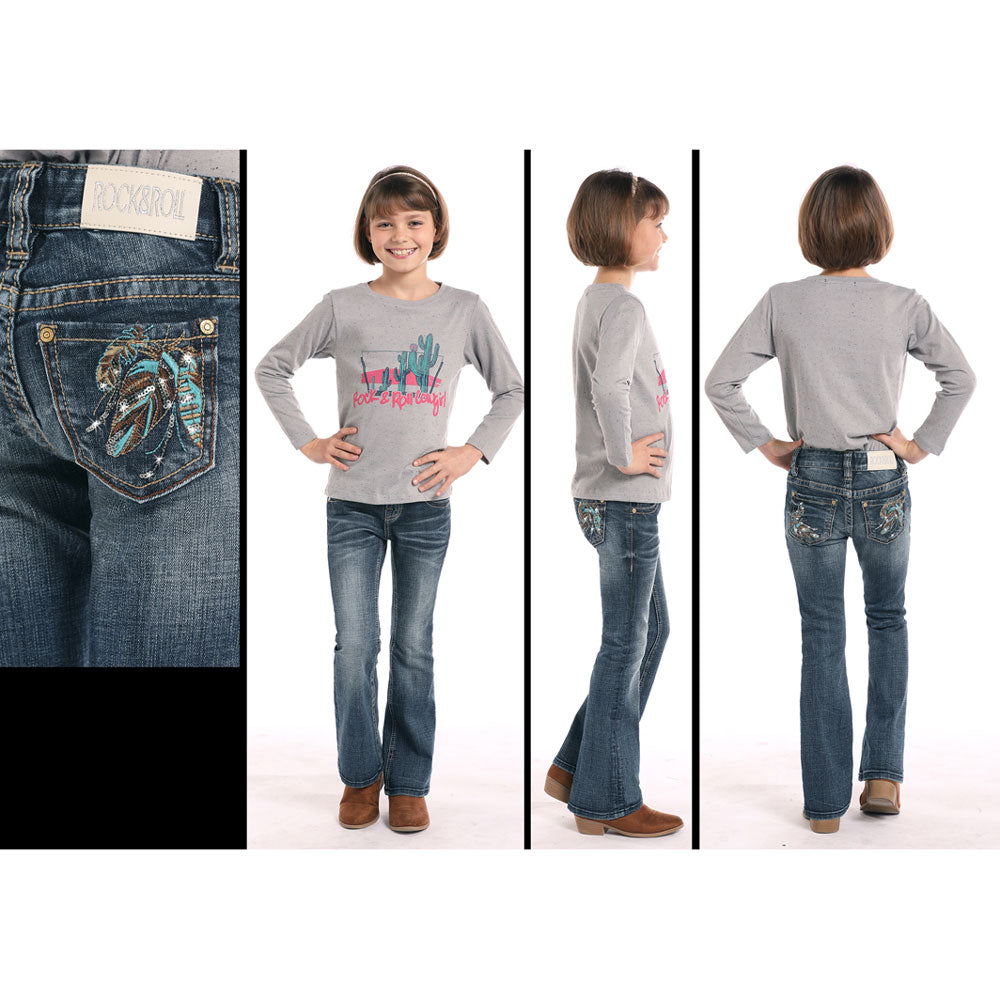G5-8738 Rock & Roll Cowgirl Girls' Feather Pocket Boot Cut Jeans