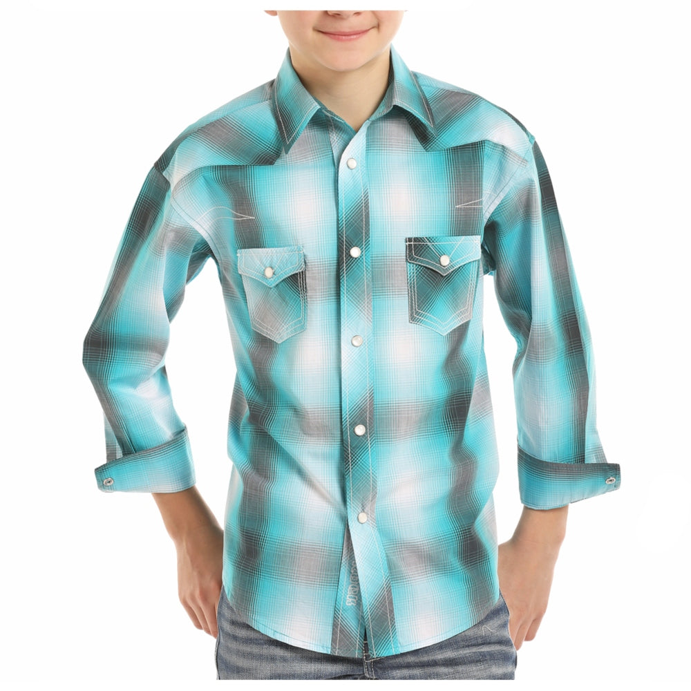 B8S8019 Rock & Roll Cowboy Boys Turquoise Plaid Western Shirt