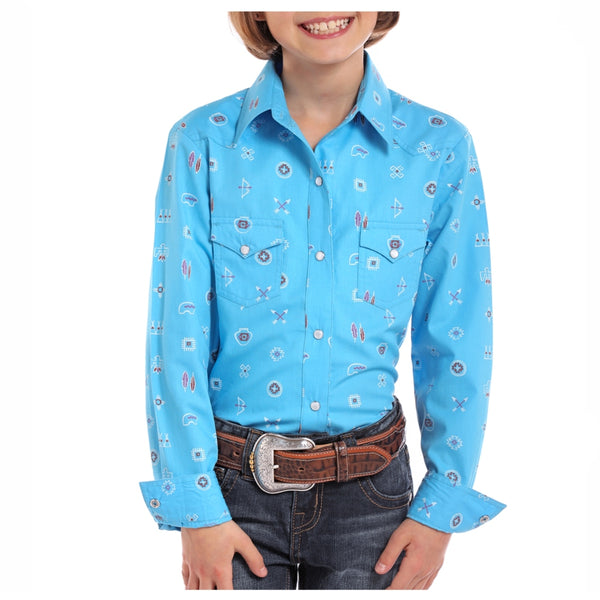 C6S8253 Panhandle Girls Blue Print Western Shirt
