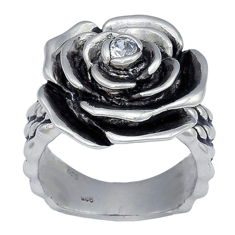 RG1377CZ Montana Silversmiths Antiqued Silver Rose-Arie Ring
