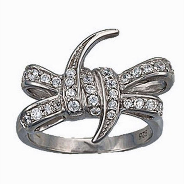 RG1869 Montana Silversmiths Jewelry Women's Barbed Wire Bow Ring