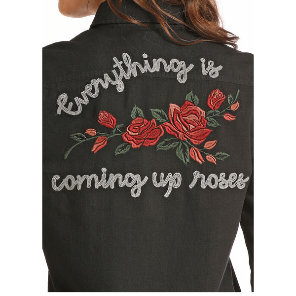 B4B8051 Rock & Roll Juniors Black Denim Shirt with Rose Embroidery on the Back