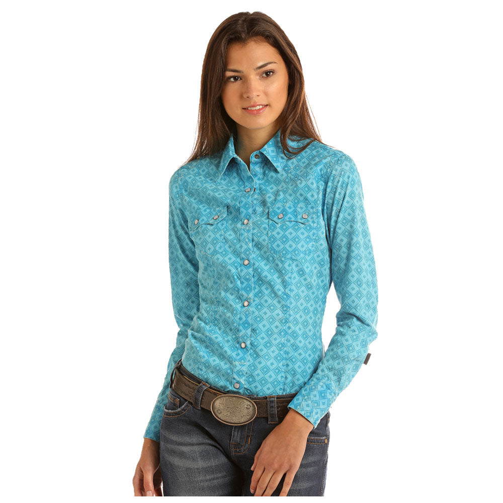 B4S9107 Rock & Roll Cowgirl Junior's Long Sleeve Western Snap Shirt  Turquoise Print